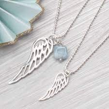 silver necklace wings images Sterling silver angel wing and aquamarine necklace by hurleyburley jpg