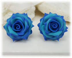 turquoise roses variegated blue green stud earrings