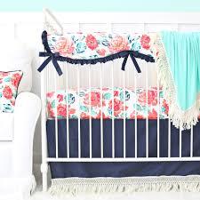Navy And Coral Crib Bedding Everlys Garden Boho Fringe Bumperless Crib Bedding Caden