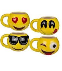 smiley bureau mug émoji smiley émoticône tasse céramique jaune café thé déco
