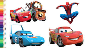 spiderman and lightning mcqueen cars 3 nursery rhymes coloring