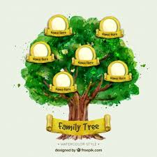 watercolor family tree with yellow elements vector free