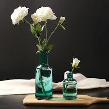 home decor ornaments decoration modern vases home decor glass blue flower vase