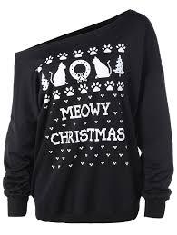 tops one size meowy christmas graphic plus size sweatshirt