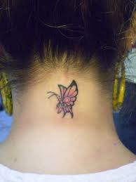 cute butterfly tattoo on back neck tattoos book 65 000 tattoos