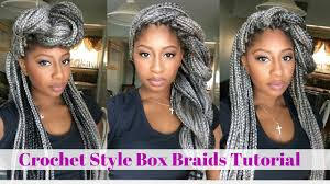 grey and purple combined together style box breads crochet box braids tutorial grey hair youtube