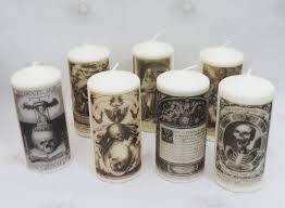 skeleton pillar candle goth candle witch memento mori