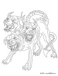 cerberus the 3 headed dog guadian of hades coloring pages