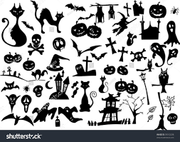 vector collection halloween silhouettes more available stock