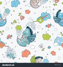 cute funny vector seamless pattern doodle stock vector 386844007