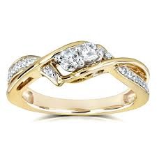 two diamond ring collection 2 crossover style 1 4 carat tw diamond ring in