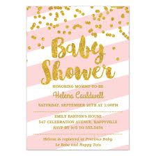 pink and gold baby shower invitations pink stripes gold confetti baby shower invitations cards on