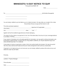minnesota 14 day notice to quit form non payment of rent