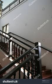 Dark Wood Banister Wooden Stairways Dark Wood Railings Stock Photo 4208170 Shutterstock