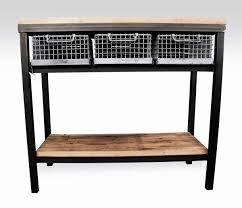 Industrial Console Table Industrial Console Table With Galvanized Basket Drawers Olde