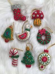 set of 4 vintage felt and sequin stuffed bell ornaments