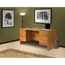 Excutive Desk 30 In X 60 In Brown Double Pedestal Executive Desk With 2 Box