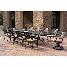 Dining Sets Darlee Ocean View Aluminum 11 Piece Rectangular Extension Patio