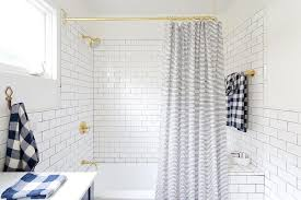 Boy Bathroom Shower Curtains Polished Brass Shower Rail With Blue Striped Shower Curtain