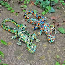 pair of mosaic lizard garden ornaments in resin co uk