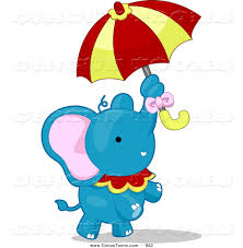 circus clipart of a blue talented elephant standing with an