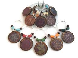 thanksgiving wine glass charms fall wine glass markers rustic