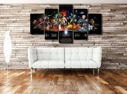 star wars living room star wars wall art on canvas 5 panel print living bed room framed