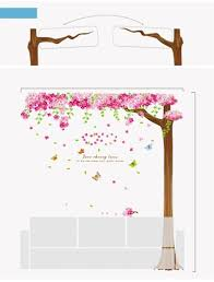 Cherry Home Decor by Sia New Large Size 3pcs Romantic Pink Sakura Wall Stickers Diy
