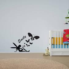 girl s personalised fairy butterfly wall art by vinyl revolution girl s personalised fairy butterfly wall art
