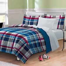 modern plaid red blue striped teen boy bedding twin xl or full bed
