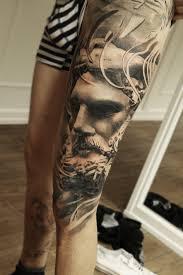 leg tattoo designs guys leg sleeve leg tattoo huge leg sleeve mark wosgerau statue realism
