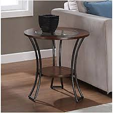amazon com carlisle walnut charcoal grey round end table