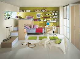 Children S Living Room Furniture Unisex Bedroom With Green Wall Paint Color And Loft Bed And