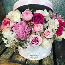 in a box delivery pink the hat box version by flower and fleur la vie in