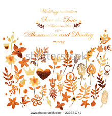 save the date sprüche set autumn flowers herbs leaves painted stock illustration