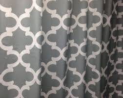 Grey White Curtains Quatrefoil Curtains Etsy