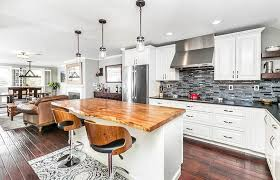 kitchen with white cabinets and wood countertops live edge wood countertops design guide designing idea