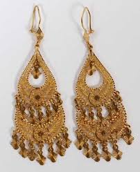 arabian earrings 22kt gold saudi arabian chandelier earrings