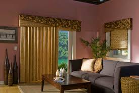 panoramic patio door decorated with unusual curtains