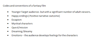 fantasy film genre conventions my media studies journey as to a level september 2014