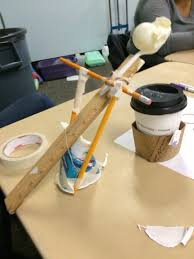 build catapults students are given pencils tape scissors a cup