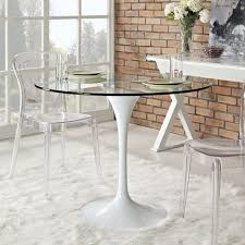 Large Glass Dining Tables Kitchen Cool Clear Glass Dining Table With Round White Polished