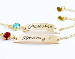 Baby Personalized Jewelry Personalized Baby And Mommy Bar Bracelet Set Custom Mom And