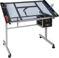 Glass Drafting Table With Light Amazon Com Onespace 50 Cs01 Craft Station Silver With Blue Glass