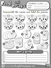 food and drinks worksheet 1 b u0026w version esl pinterest