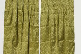 Vinyl Drapes 60s 70s Vintage Olive Green Brocade Drapes Vinyl Backed Fabric