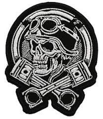 skull with cross pistons embroidered patch ebay