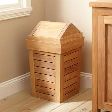 corner teak bathroom wastebasket with lid under window ideas