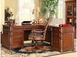 L Desk With Hutch Riverside Furniture Bristol Court Caster Equipped Wooden Desk