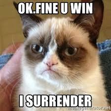 U Win Meme - ok fine u win i surrender grumpy cat meme generator